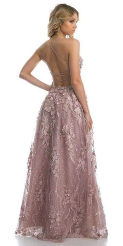 Mauve Lace Flower Appliqued Long Prom Dress with Slit