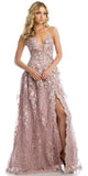 Juliet 216 Mauve Lace Flower Appliqued Long Prom Dress with Slit
