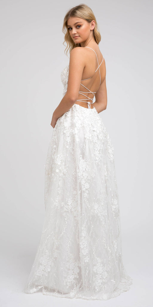 Juliet 216 Off White Lace Flower Appliqued Long Prom Dress with Slit