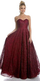 Sweetheart Neckline Strapless Prom Ball Gown Burgundy