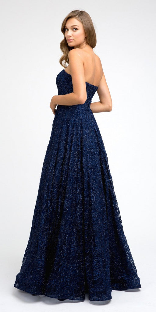 Juliet 217 Floor Length Sweetheart Neckline Strapless Prom Ball Gown Navy Blue