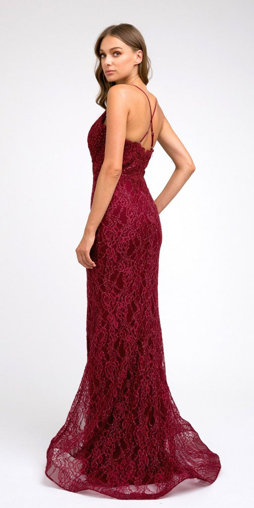 Burgundy Lace Mermaid Long Formal Dress V-Neck