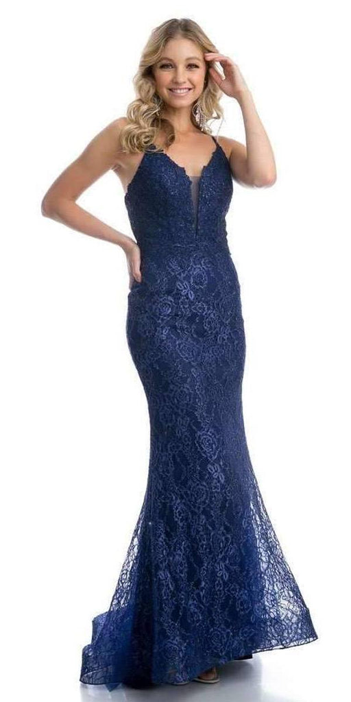 Navy Blue Lace Mermaid Long Formal Dress V-Neck