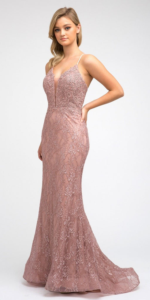 Rose Gold Lace Mermaid Long Formal Dress V-Neck