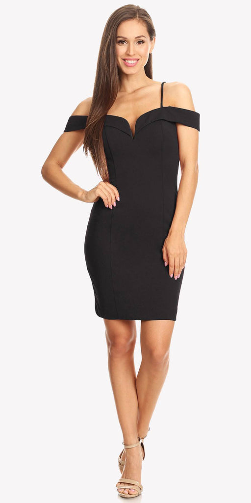 Off Shoulder Sweetheart Neckline Cocktail Dress with Spaghetti Strap Black