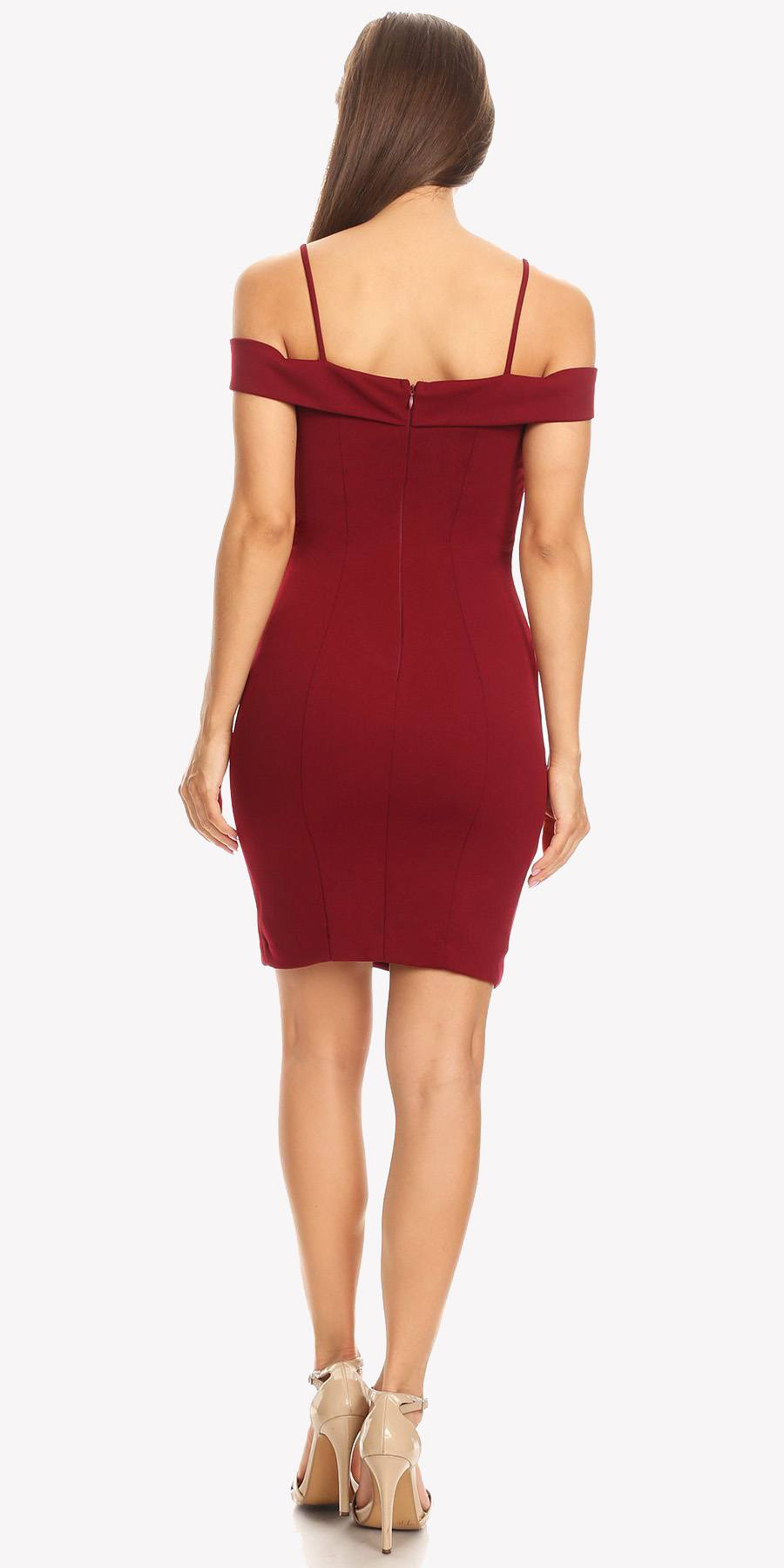 f620abe0d59c ... Black Off Shoulder Sweetheart Neckline Cocktail Dress with Spaghetti Strap  Burgundy ...