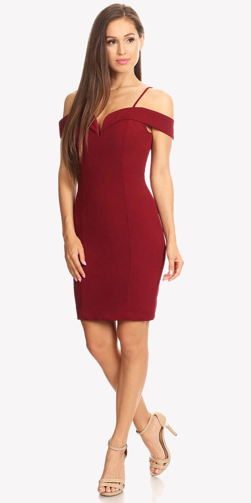 Off Shoulder Sweetheart Neckline Cocktail Dress with Spaghetti Strap Burgundy
