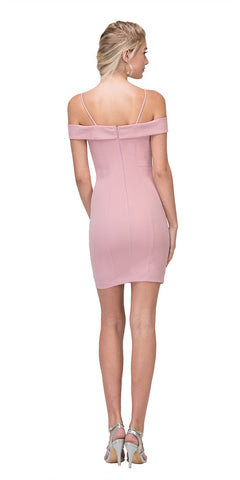 Eureka Fashion 2200 Off Shoulder Sweetheart Neckline Cocktail Dress with Spaghetti Strap Dusty Pink Back View