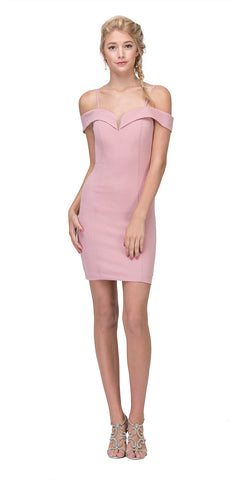 Eureka Fashion 2200 Off Shoulder Sweetheart Neckline Cocktail Dress with Spaghetti Strap Dusty Pink