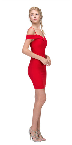 Eureka Fashion 2200 Off Shoulder Sweetheart Neckline Cocktail Dress with Spaghetti Strap Red