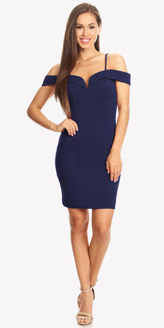 Eureka Fashion 2200 Off Shoulder Sweetheart Neckline Cocktail Dress with Spaghetti Strap Navy Blue