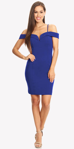 Off Shoulder Sweetheart Neckline Cocktail Dress with Spaghetti Strap Royal Blue