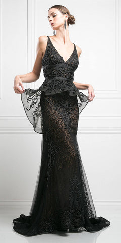Black V-Neck Corded Applique Over Lace Gown Peplum Waist