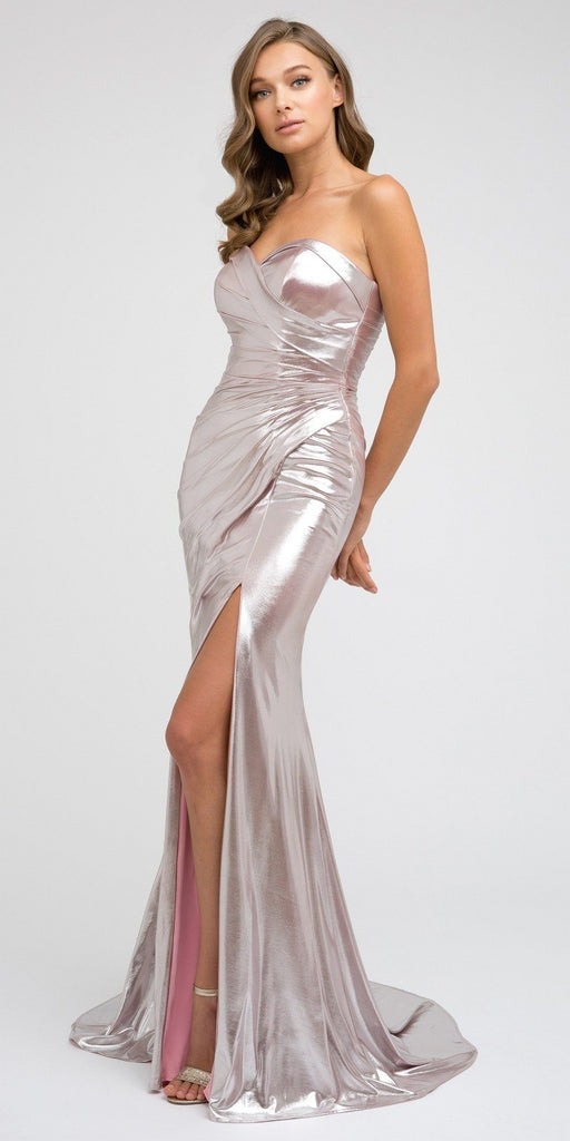 Floor Length Sweetheart Neckline Metallic Rose Pink Prom Dress Slit