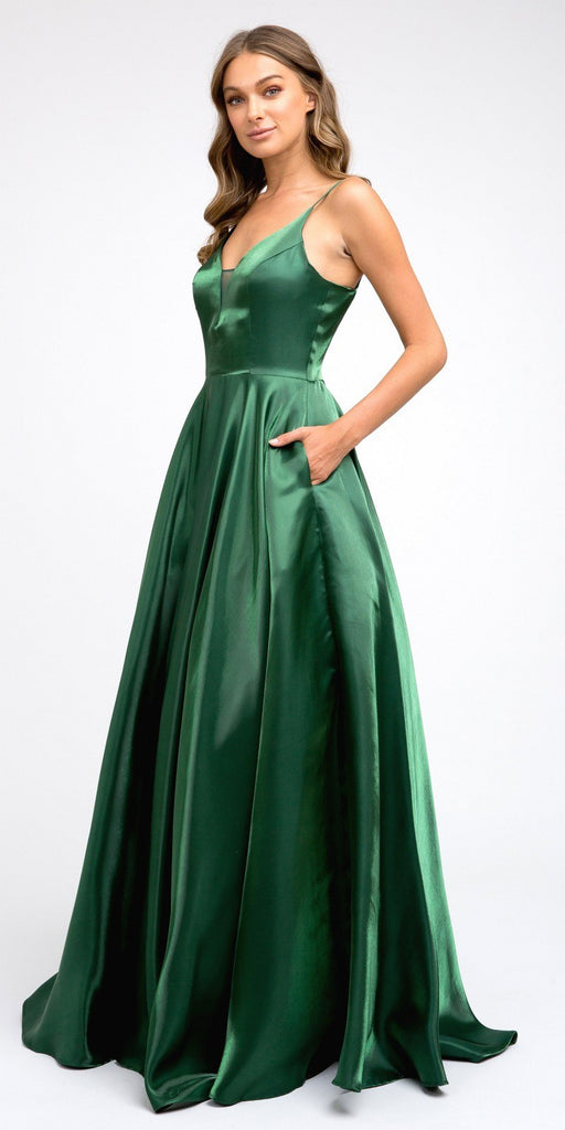 Lace-Up Back V-Neck Long Prom Dress Green with Pockets