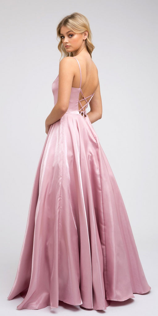 Lace-Up Back V-Neck Long Prom Dress Rose with Pockets