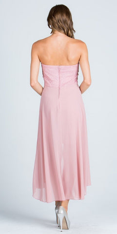 Blush High and Low Bridesmaids Dress with Brooch and Drape Strapless