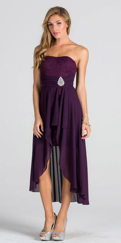 Eggplant High and Low Bridesmaids Dress with Brooch and Drape Strapless