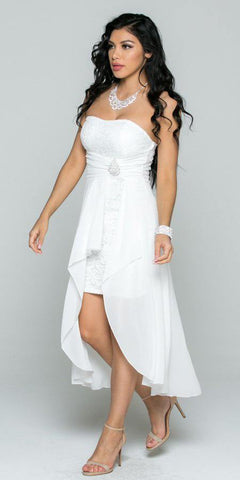 Off White High and Low Bridesmaids Dress with Brooch and Drape Strapless