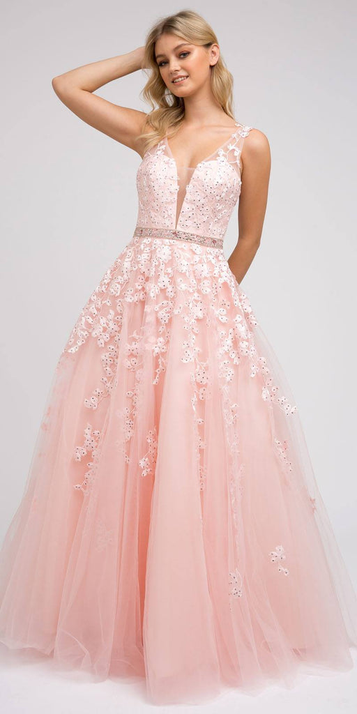 V-Neck and Back Embroidered Prom Ball Gown Blush