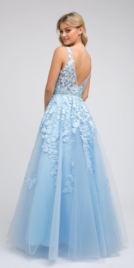 V-Neck and Back Embroidered Prom Ball Gown Ice Blue