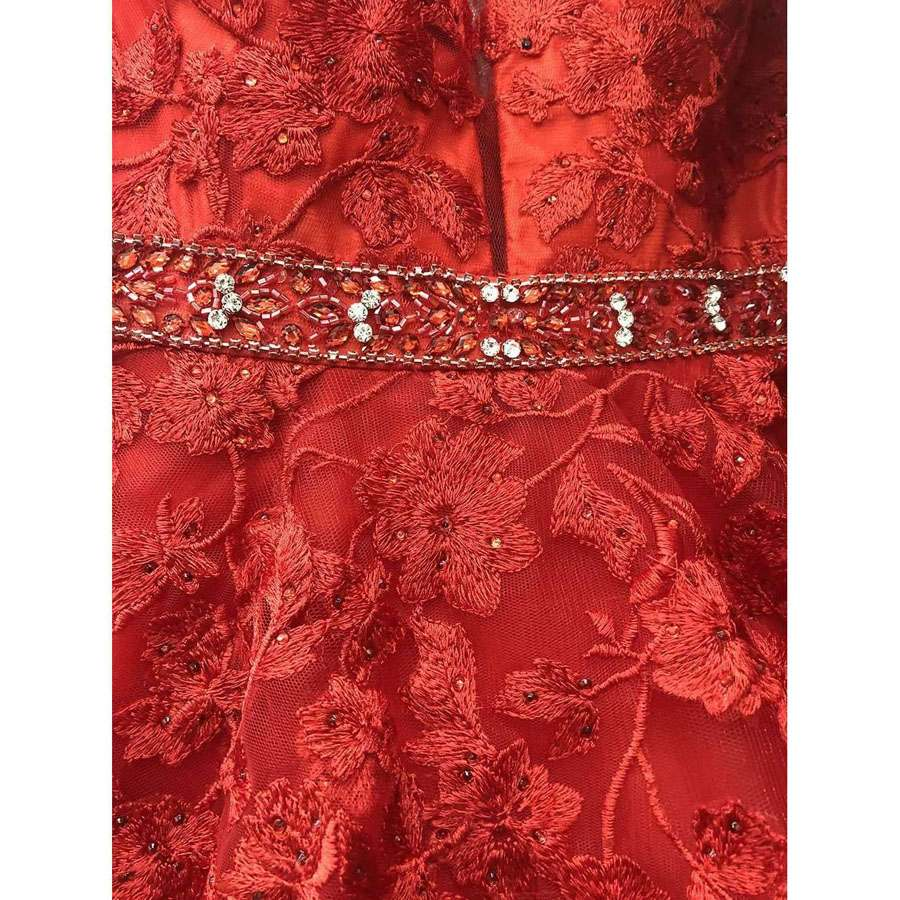 V-Neck and Back Embroidered Prom Ball Gown Red
