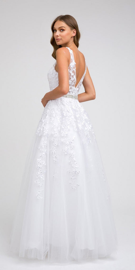 V-Neck and Back Embroidered Prom Ball Gown White