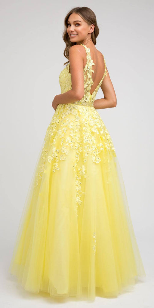 V-Neck and Back Embroidered Prom Ball Gown Yellow