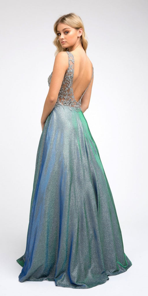 Illusion Appliqued Bodice Long Prom Dress Green with Pockets