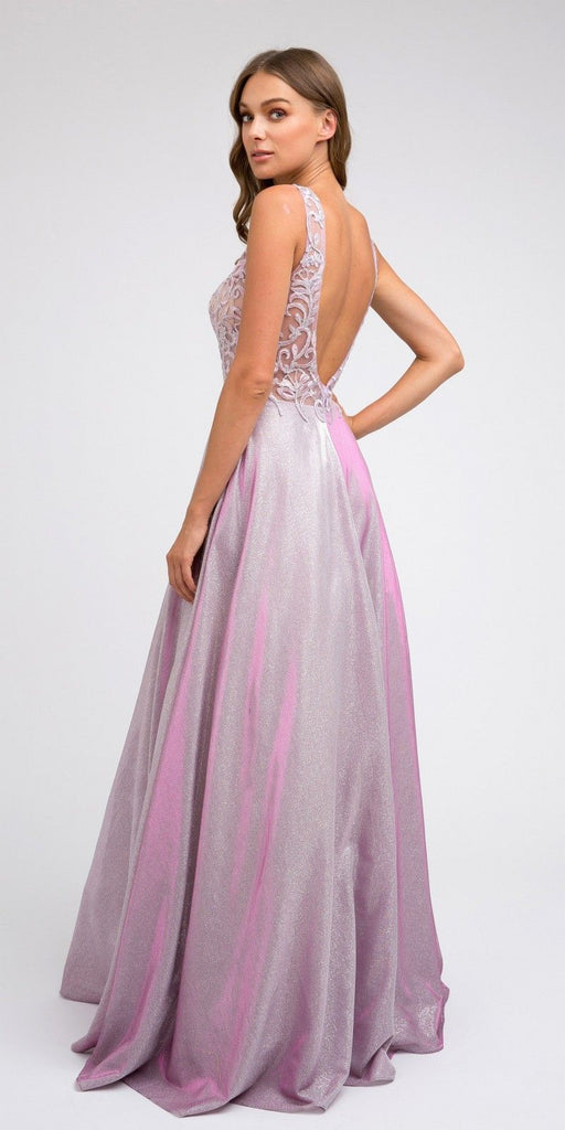 Illusion Appliqued Bodice Long Prom Dress Magenta/Mauve with Pockets