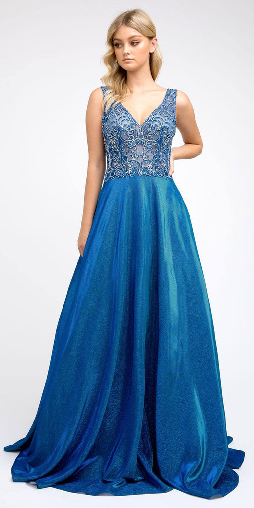 Illusion Appliqued Bodice Long Prom Dress Royal Blue with Pockets