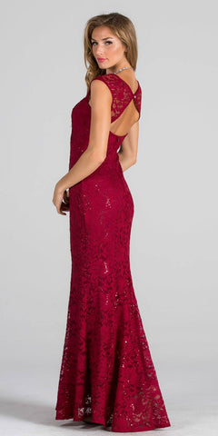 Burgundy Cap Sleeves Fit and Flare Long Formal Dress Lace Cut Out Back View