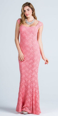 Coral Cap Sleeves Fit and Flare Long Formal Dress Lace Sequins