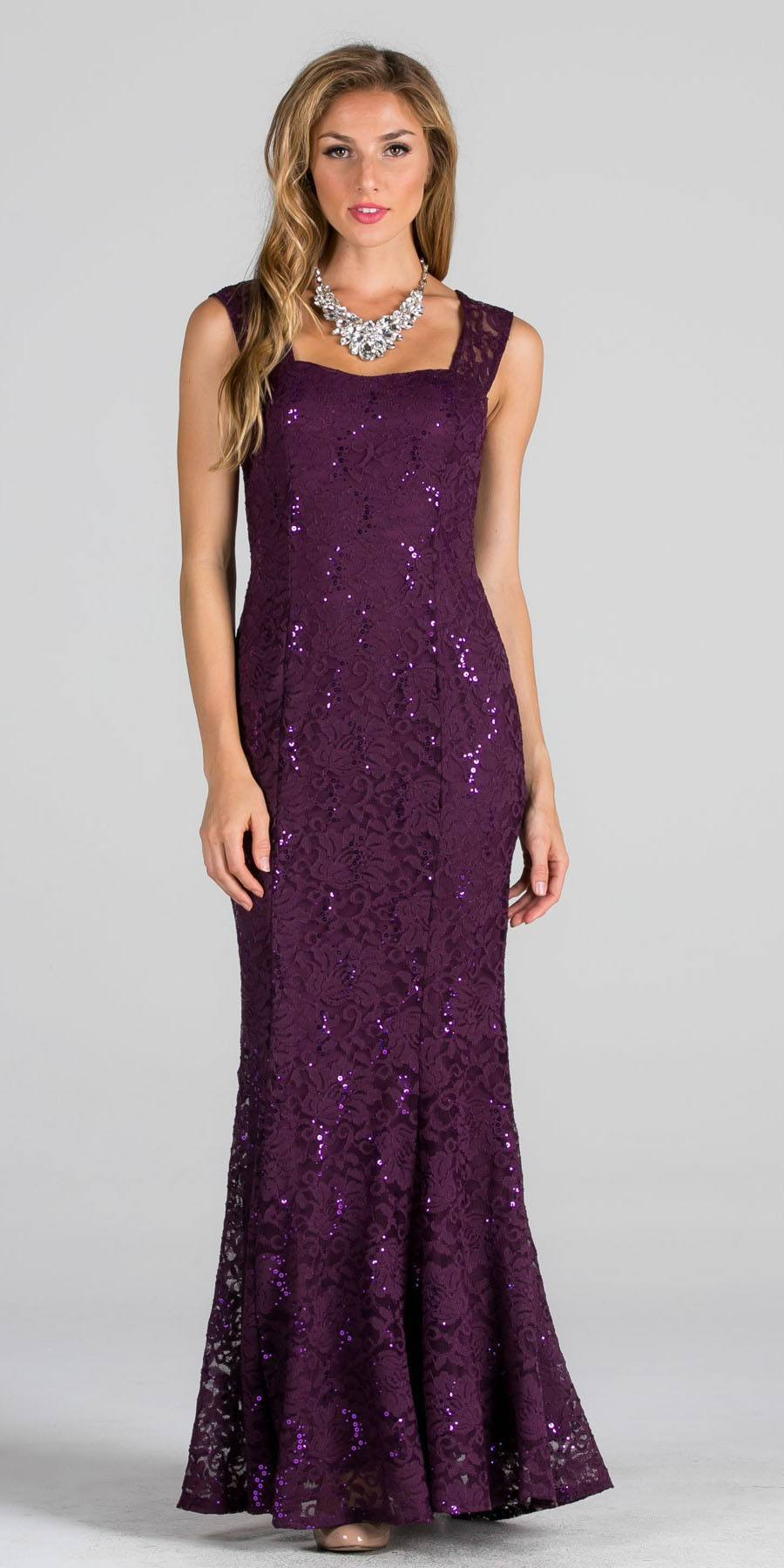 Red Cap Sleeves Fit and Flare Long Formal Dress Lace Cut Out Back ...