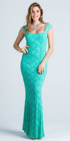 Mint Cap Sleeves Fit and Flare Long Formal Dress Lace Sequins