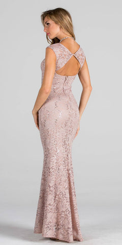 Nude Cap Sleeves Fit and Flare Long Formal Dress Lace Cut Out Back View