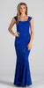 Royal Blue Cap Sleeves Fit and Flare Long Formal Dress Lace Sequins