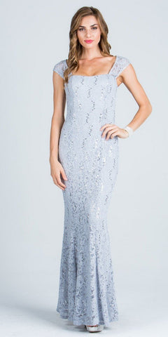 Silver Cap Sleeves Fit and Flare Long Formal Dress Lace Sequins