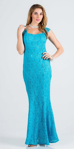Turquoise Cap Sleeves Fit and Flare Long Formal Dress Lace Sequins