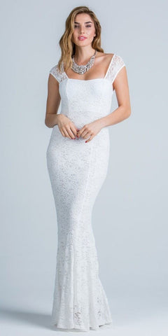 White Cap Sleeves Fit and Flare Long Formal Dress Lace Sequins