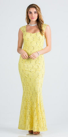 Yellow Cap Sleeves Fit and Flare Long Formal Dress Lace Sequins