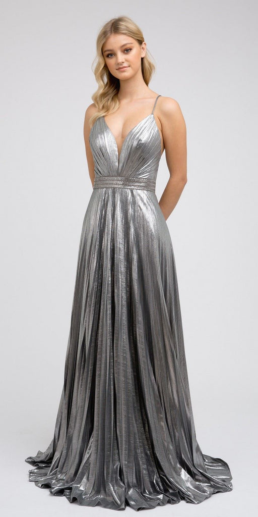 Metallic Pleated Long Formal Dress Lace-Up Back Charcoal