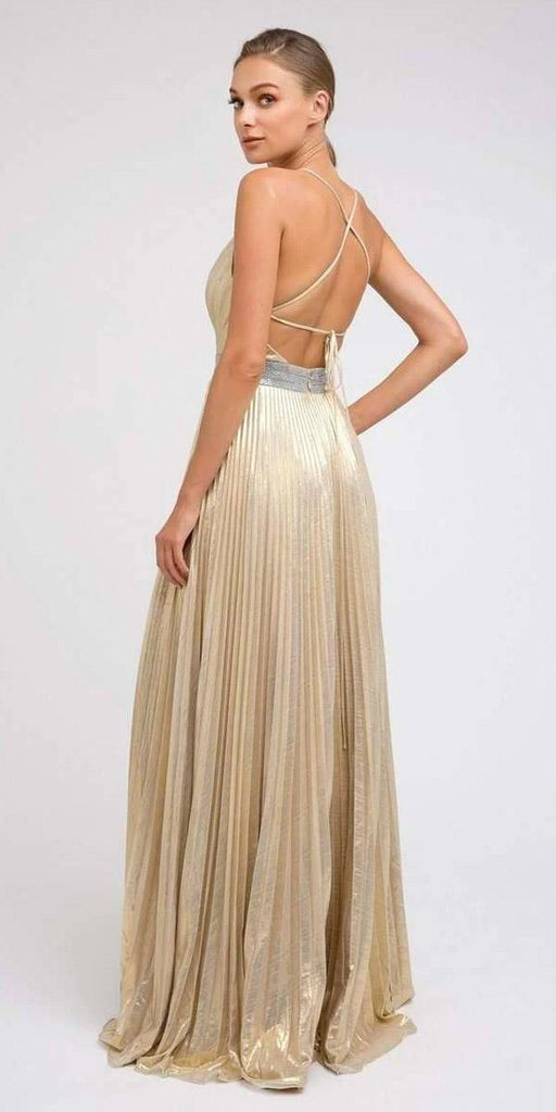 Juliet 226 Metallic Pleated Long Formal Gold Dress A-Line Lace-Up Back