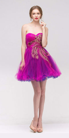 Fuchsia Embellished Bodice Strapless Homecoming Dress Tulle Short