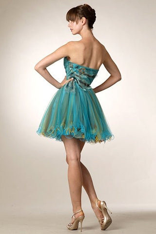 Turquoise Embellished Bodice Strapless Homecoming Dress Tulle Short Back