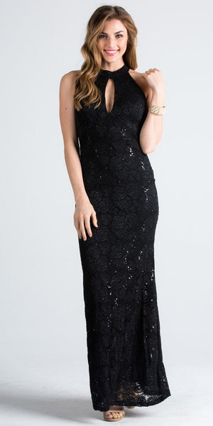 Cut Out Back Long Formal Dress Halter Keyhole Neckline Black