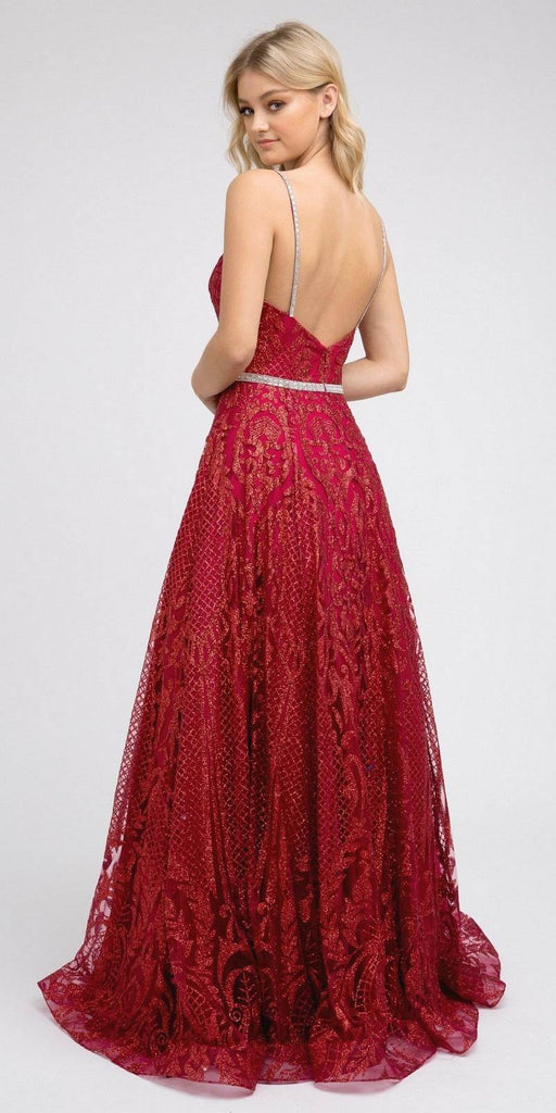 Glitter Long Prom Dress with Spaghetti Straps Burgundy