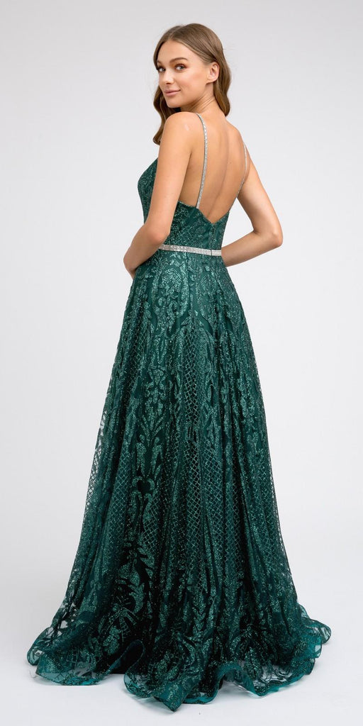 Glitter Long Prom Dress with Spaghetti Straps Green