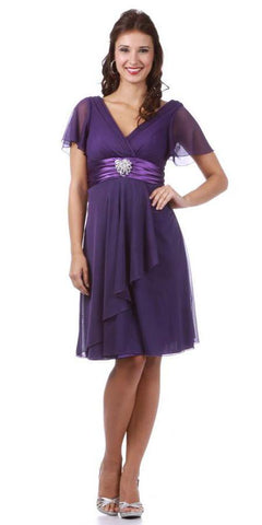 CLEARANCE - Short Sleeve Purple Modest Knee Length Dress V Neckline Chiffon