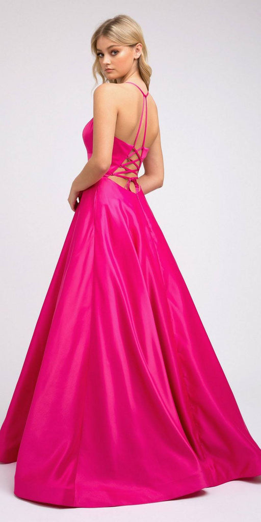 Stylish Back Long Prom Dress Fuchsia with Pockets